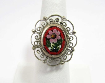 Micro Mosaic Ring - Italy mosaic glass design in silver tone filigree - adjustable - 60s-70s