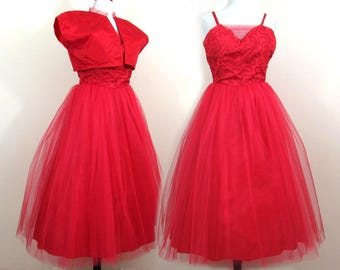 1950s Red Satin & Tulle Formal - midi length - decorated bodice - full tulle skirt - optional shrug - Med