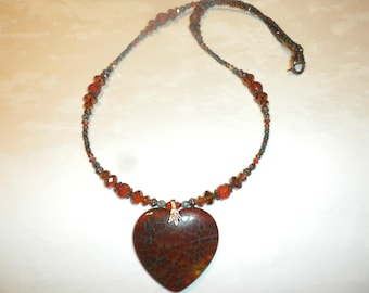 Dragon Veins Fire Agate Heart Necklace