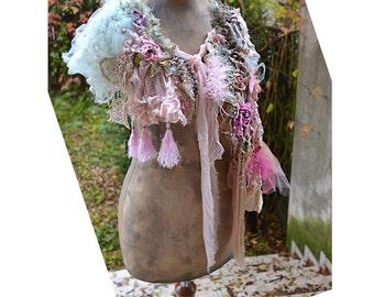 Wonderful Art To Wear Shabby Chic Pastel Delicate Collar Cape ANTOINETTE'S ROSES Boho Antique Millinery Alternative Wedding Tattered Gipsy