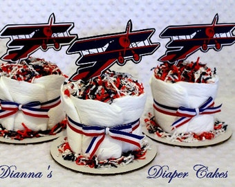 Airplanes Baby Diaper Cakes Set 3 Biplanes Shower Gift Centerpiece SELECT TOPPERS Boys
