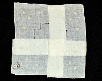 MADEIRA WEDDING HANKIE Ivory Irish Linen Embroidery Cut Work Hem Stitched Desco Label Bride Bridal Never Used Excellent Condition