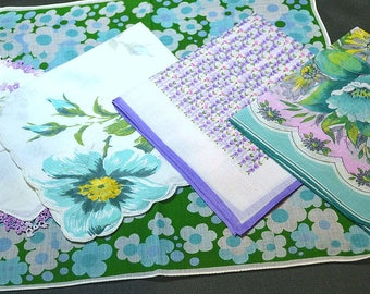 Lot of 5 Printed Hankies Lavender Aqua Abstract Florals Geometric Figurative Linen Crochet Lace Corded New to Excellent Vintage Condition