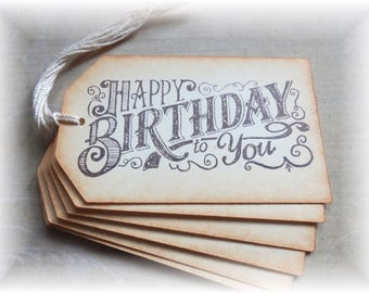 Happy Birthday -Vintage Looking- Gift/ Hang Tags (6)