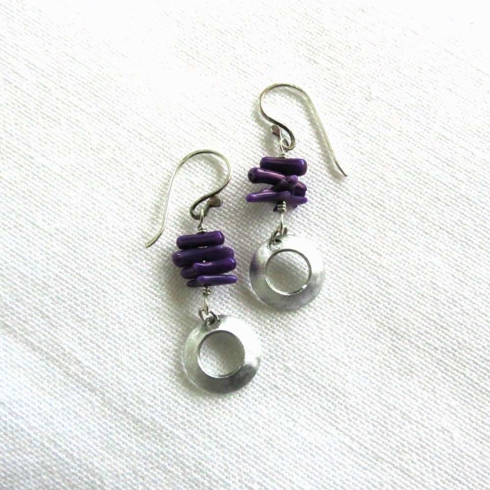 silver earrings with purple coral