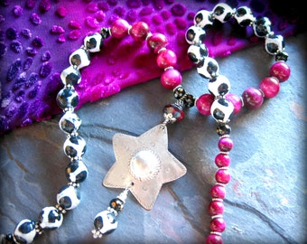 Long Beaded Boho Necklace, Black and White Agate Necklace, Magenta Tigers Eye, Tribal Gypsy Ethnic Thai Hmong Star Pendant