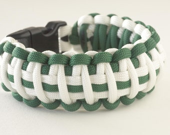 St. Patrick's Day Paracord Bracelet Kelly Green and White