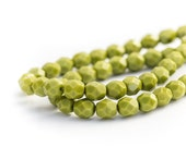 Olive Green Faceted Czech Glass Beads, Fire Polished Opaque Round Spacers, 6mm x 25pc (0017)