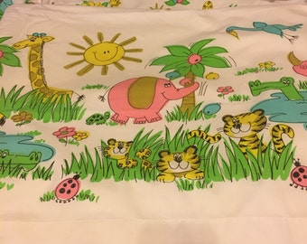 Vintage Children's Twin Top Sheet and Pillowcase