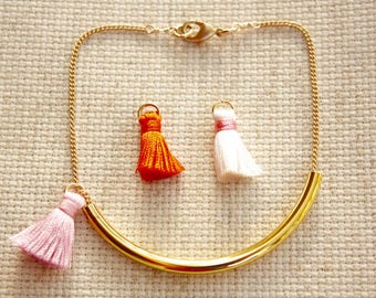 Tassel Bracelet, Gold Bar, Chain,  Ready to Ship