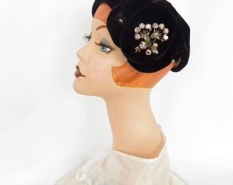 Vintage velvet hat, black tilt, rhinestone pin