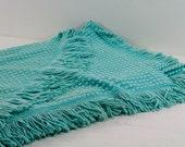 Vintage Chenille Bates Bedspread, Aqua Color, Twin Size