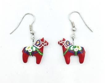 Swedish Dala Horse Earrings