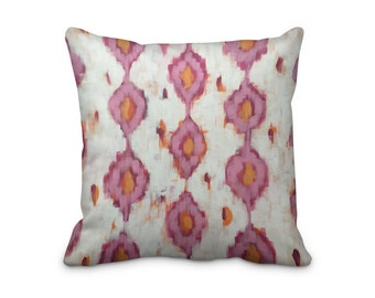 Pink Ikat Pillow Cover, Asian Theme Pillow Cover, Summerhouse Cushion Cover, Patterned Ikat Cushion Cover