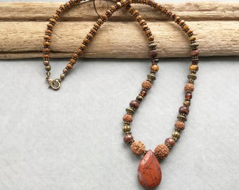 Red Jasper Tear Drop Beaded Necklace