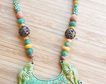 Tibetan shield statement necklace