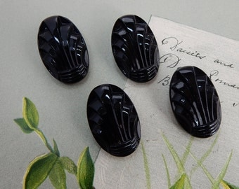 Set of 4 Matching Black Glass Scalloped Design Toggle Buttons    OS9