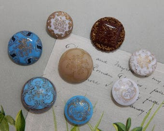 8 Victorian Opaque Glass Buttons w/ Incised Gold Lines
