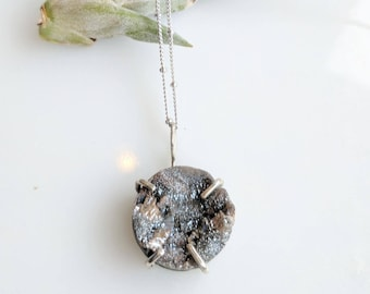 Gray Druzy and Silver Necklace - druzy  necklace - sparkle necklace - claw setting - satellite chain - glittery necklace - boho gift