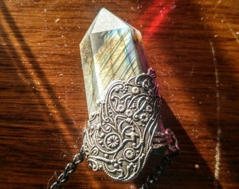 Angel Wing Large Healing Labradorite Crystal Wand Point Necklace