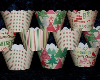 12 Christmas Cupcake Wraps Holiday Party Cupcake Decorations Up to 4 Sets Same Shipping Vintage SAVE 50% CLEARANCE  READY To SHiP