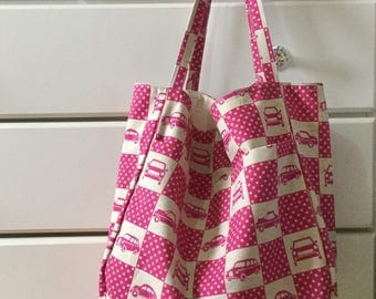 Tote shopping bag with purse  pocket and keyring holder