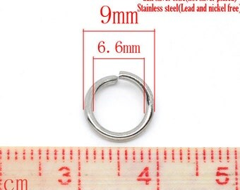 200 pcs Stainless Steel Open Jump Rings 9mm - 16 Gauge - THICK - HEAVY - High Quality