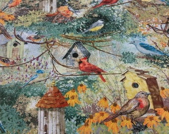Bird houses and print fabric per yard/ Cotton print fabric/ Quilting/ Home Decorating/ Bird lovers fabric
