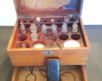 Antique 1800s medicine chest, vintage Whitall Tatum wooden box, doctors medical kit, Seabury Pharmaceutical, apothecary, enamel funnel