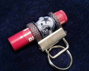 Lip Balm Holder Key Chain / Standard Size / Burts Bees / Chapstick / Lip Smackers / Dallas Cowboys / Cowboys / Dallas / Texas / Grey / Star