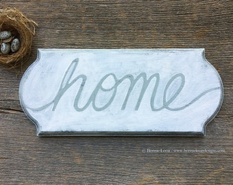 Wood Home Plaque, Hand Painted Sign, White and Gray Wall Decor, Gray and White Home Wall Signs, Housewarming Gift Idea, Gift for Her