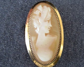 Cameo Brooch, vintage cameo, cameo jewelry, signed Catamore cameo, gold filled cameo, shell cameo, designer signed jewelry, gifts for women