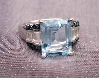 aquamarine ring, gemstone ring, aquamarine jewelry, cocktail ring, size 9 3/43 ring, blue stone ring, statement ring, statement jewelry
