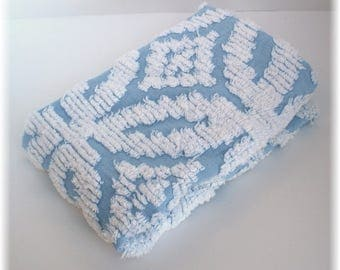 Blue and white cotton chenille fabric  / Vintage