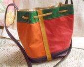 Leather BUCKET BAG Patchwork PURSE Boho Colors Orange Red Green Brown, Crossbody Shoulder Strap Sliding Closer, Lined Pocket  Vintage Unused