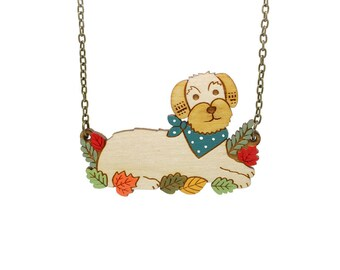Wired haired dachshund necklace ~ hand painted laser cut dog necklace