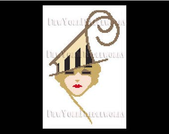 Art Deco Woman, Art Deco, Art Deco Cross Stitch, Cross Stitch Woman, Cross Stitch Pattern, Women Cross Stitch  by NewYorkNeedleworks on Etsy
