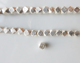 4mm  Sterling silver  faceted  nugget beads ,  sterling  silver faceted spacer beads