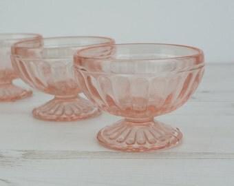 Vintage Pink Glass Bowls - Depression - Serving - Dish - Glassware - Sorbet - Pudding - Sweet - Kitchenware