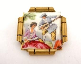 Vintage French art deco Limoges porcelain brooch in aged brass