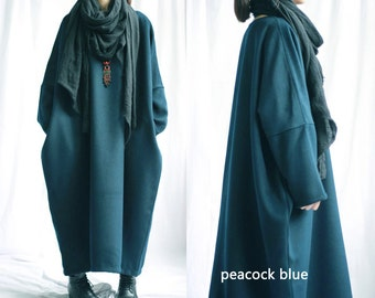 RAMIES/ Free Style Cotton Long Dress with Cotton Lining/ Winter Coat/10 Colors