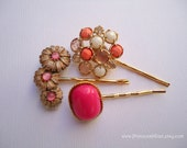 Vintage earrings hair grips - Peach pink hot salmon gold gem bauble floral cabochon cluster decorative embellish jeweled hair accessories