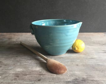 Batter Bowl, Stoneware Mixing Bowl with Pour Spout Pancake Batter Bowl Handmade Ready to Ship Gift for Mom