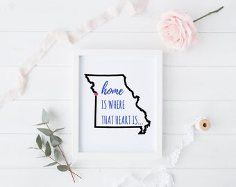 Home Heart, Missouri State, Outline Art, Wall Art Print, 8x10 PRINT ONLY, Home Decor, Frame-able Art Print, Map Art, State Art, State Prints