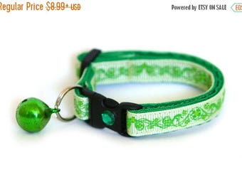ON SALE St. Patrick's Day Cat Collar - Pretty Shamrocks on Green -  Small Cat / Kitten Size or Large Size