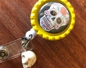 Sugar Skull Magnet Badge Holder Retractable Badge Holder