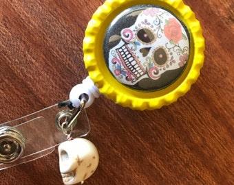 Sugar Skull Magnet Badge Holder Retractable Badge Holder