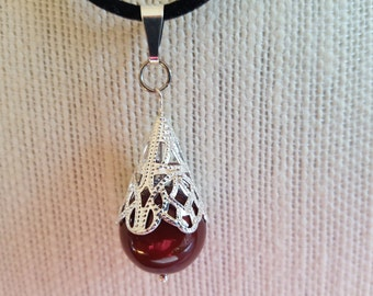 """Black Flat Leather 18"""" Necklace with 16 mm Bordeaux Swarovski Crystal Pearl Silver Filigree Cap and Silver Clasp"""