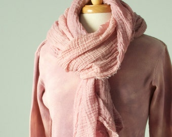 rose quartz pale pink hand dyed wavy textural long cotton gauze scarf with raw edges
