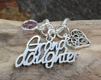 Grand Daughter Necklace, Birthstone Necklace, Silver Necklace, Grand Daughter Birthstone Gift, Gifts for Grand Daughters, Sterling Silver